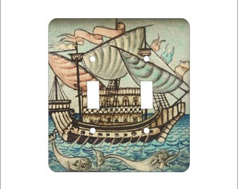 Metal Medieval Ship Double Light Switch Cover -Medieval Switch Plate - 2T Double Switch Plate - William Morgan Galleon Ship and Dolphins