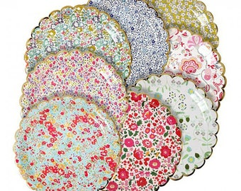 "Liberty Floral Paper Plates (Set of 8) 9"" Meri Meri Floral Party Plates | Baby Shower, Bridal Shower, Wedding"