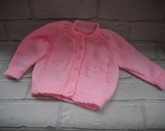 new baby cardigan/knitted baby matinee jacket/hand knitted baby coat/ baby cardigan/baby matinee jacket/pink baby knitted cardigan.