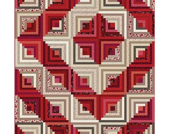 Nancy Rink Remember Red Cream Floral Around the Cabin Log Cabin Complete Quilt Kit 58x70