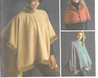 Simplicity Pattern 4358 FLEECE CAPELETS & PONCHO Misses Sizes Xs Sm Med