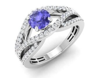Natural Tanzanite Ring | Tanzanite Engagement Ring With Diamond 14K Gold | Diamond Ring | Diamond Engagement Ring | Certified Tanzanite Ring