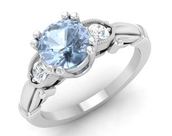 Aquamarine Engagement Ring, 14K White Gold, Unique Engagement Ring, Anniversary Ring, Wedding Ring, Are Deco Ring, Vintage Ring, Gold Ring