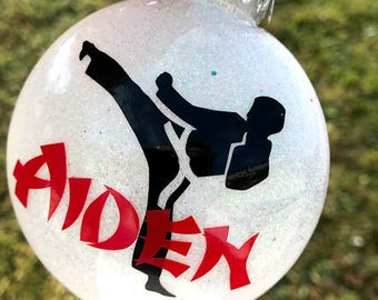 Karate ornament-Glittered & Personalized