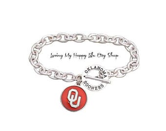 OU, OKLAHOMA, Sooners, CHARM, Bracelet, Cable Chain, University and Athletics Team Name Toggle Clasp, buy 2 get 1 free