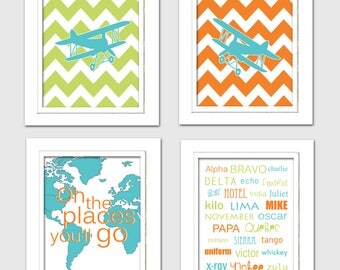 Lime green and orange nursery, Lime green and teal nursery, lime green teal and orange nursery, Airplane nursery decor