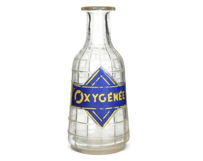 Oxygenee Antique Absinthe Bottle. French Water Carafe. Collectible Advertising Barware. Bistro & Cafe Decor.