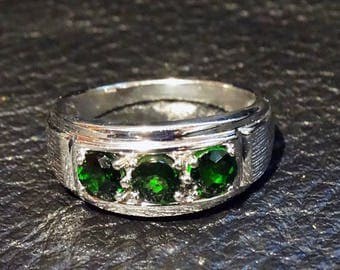 Russian Emerald Ring Sterling Silver Vintage Unisex