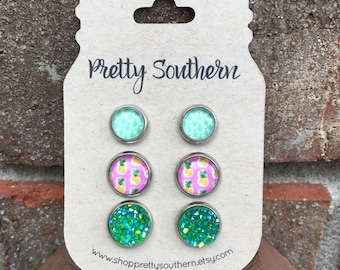 SALE***Glass and Druzy Cabochon Posts