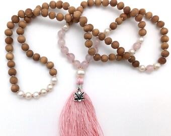 Sandalwood, Rose Quartz & Pearl Mala, with lotus charm, hand-made, 108 bead mala