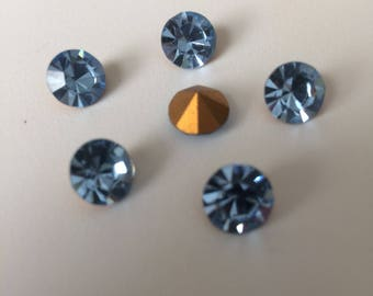 Vintage Glass Round Light Sapphire Blue colour Austrian foiled rhinestone chaton approx 8mm - 6 pieces-Vintage Jewellery Making Supplies UK