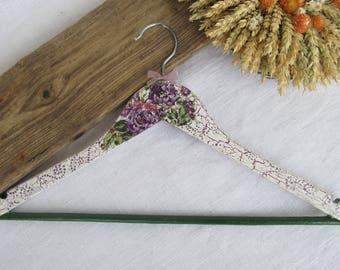 Decorated hanger -  Wooden clothes hanger  - Decoupage -  Purple&White