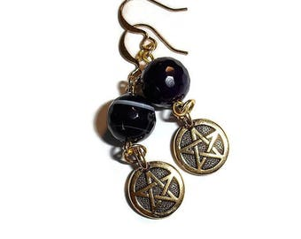 Amethyst earrings Pentacle Earrings Gold Pentacle Earrings Amethyst Earring Gemstone Earring Purple Drop Earrings Earring Gemstone Pentacles
