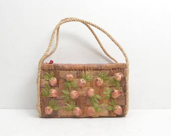 Vintage Woven Basket Wicker Straw Purse; Bags by Patricia Strawberry Clutch Tablet Tote; FREE SHIPPING USA