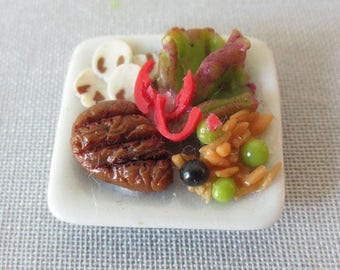 Miniature handcrafted flat full (steak/salad) 20mm square plate.