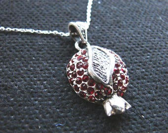 Pendant Pomegranate Sterling Silver 925 with Red Zircon Silver Necklace as a Gift - Armenian Handmade Jewelry, Gift for Her