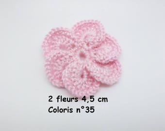 Set of 2 color No. 35 in Mercerized cotton crochet flowers