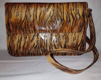 80s Vintage Patent Tiger Print Shoulder / Clutch Bag ITALY by GIORGIA B