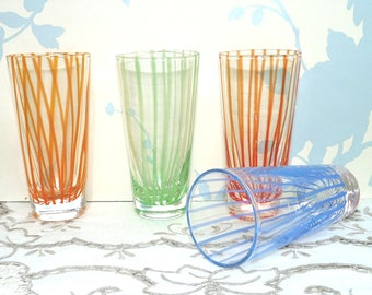 1950's Tumblers, Water or Juice Glasses, Set of four, 100 ml Capacity, Blown Glass, Striped Pattern, Vintage Glass, Clear Glass, Handcrafted