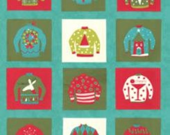 Eat Drink Be Ugly by Sandy Gervais for Moda Fabrics, Christmas fabric, Frozen Pond, 1792014