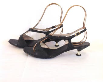 1960's Leather & Chrome Kitten Heels Sz. 10 Made in Japan