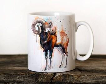 Mouflon  Mug Watercolor Ceramic Mug Unique Gift Coffee Mug Animal Mug Tea Cup Art Illustration Cool Kitchen Art Printed mug