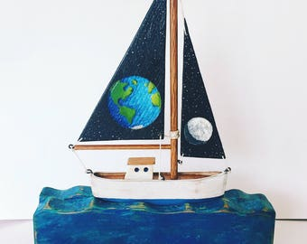 Rustic Earth/Moon Sail Boat home decor, beach, nautical decor, reclaimed wood art , Father's Day, pallet wood