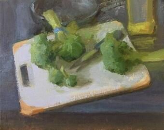 Broccoli sauté anyone? Original Oil Painting by Bhavani Krishnan Broccoli on a  cutting board w knife vegetables still life Kitchen Art 8x1