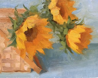 Basket of sunshine Original small oil painting by Bhavani Krishnan Sunflowers in a basket still life Wall Decor Small painting 6x8 yellow