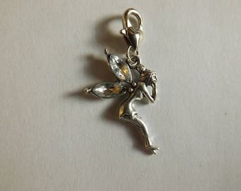 Silver fairy wings color crystal charms
