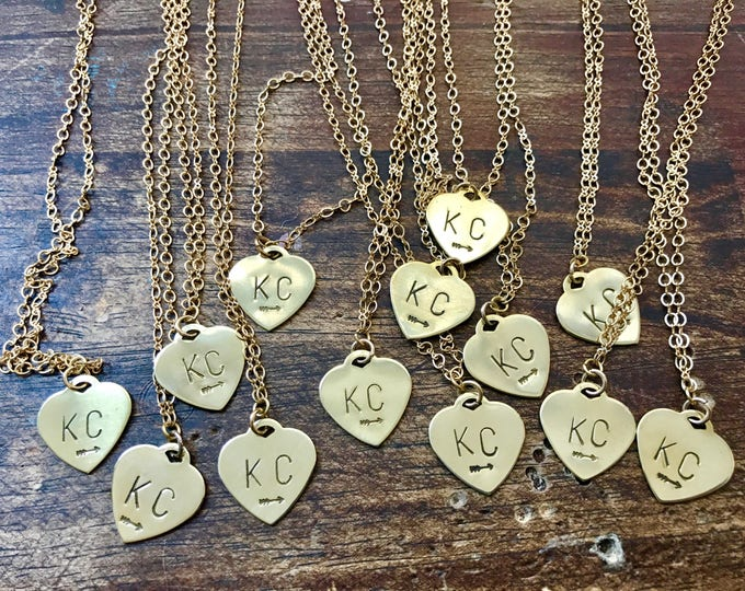 Kansas City Heart Necklace. Gold Heart Necklace. KC Pride Necklace. Hand Stamped Necklace. Kansas City Necklace. Gold KC Necklace.