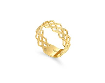 14k solid gold band. gold woven band,