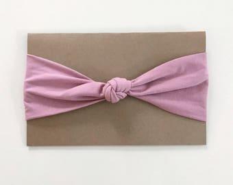 Bandeau à noeud vieux rose - Pink knot headband