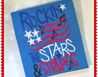 Boys 4th of July Shirt - Red White and Blue Shirt -Rockin the Stars and Stripes - Fourth of July Tee-4th ofJuly Baby-Stars and Stripes Shirt