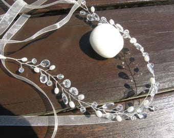Bridal Hairband, Wedding Headband, Wedding Headpiece, Hair Accessories, Hairband, Headband,Hair Jewelry,Clear, Silver Tone