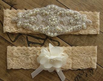 Wedding Garters, Tan Color Garter Set, Bridal Garter Set,Crystal Rhinestone &Pearl,Vintage Inspired Garter, Ivory, Tan,  Vintage Lace Garter