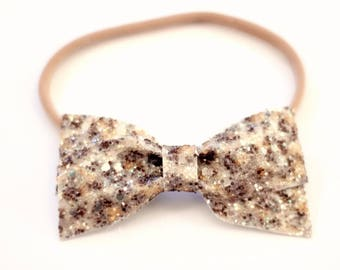 Leopard Print Baby Headband - Glitter Bow - Baby Headband - Baby Girl - Baby Girl Headband - Baby Girl Leopard