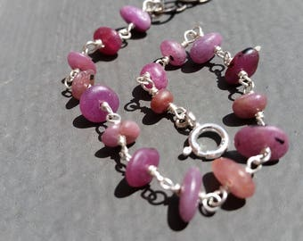 Natural Pink Ruby Sterling Silver Chain Bracelet, July Birthstone, Precious Stones, Gift, Adjustable, Strong Jewelry FREE USA SHIPPING
