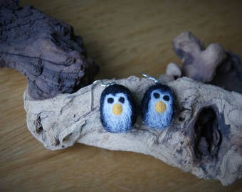Felt penguin earrings, festive earrings
