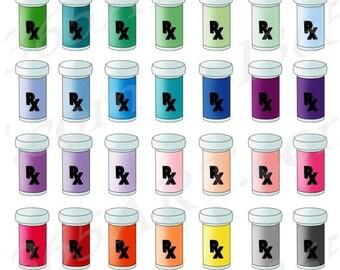 50% OFF Pill Bottle Clipart, Prescription Drug Clip Art, Pharmacy, Medicine Bottles, Medication, RX, Planner Stickers, PNG, Commercial