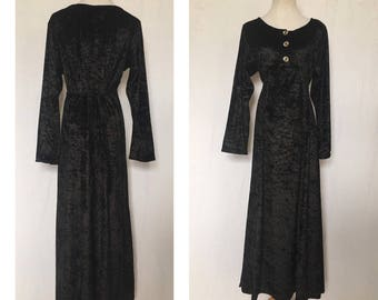 vintage 90's WITCHY BABYDOLL black MAXI dress - medium
