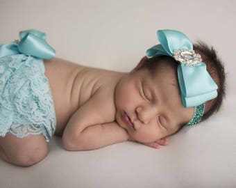 Aqua Lace Baby Bloomers and Matching Headband Set, Photography Prop,Lace Baby Bloomers,Newborn Diaper Cover, Baby Girl Headband, Aqua Bow,