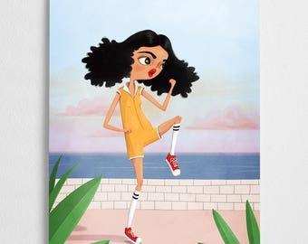 Sunset fighting girl art print // Josie