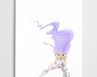 Super hero girl art print, purple pastel illustration // Lavender
