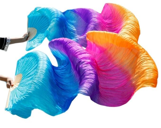 Silk Dance Fans // Light Blue, Blue, Purple, Pink and Orange
