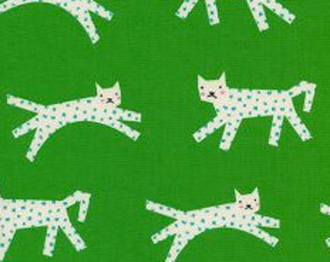 Snow Leopard in Green- Noel by Cotton and Steel- Holiday Fabric