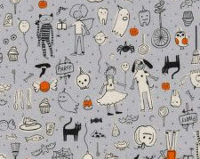 Party in Gray- Lil' Monsters by Cotton and Steel- Holiday Fabric