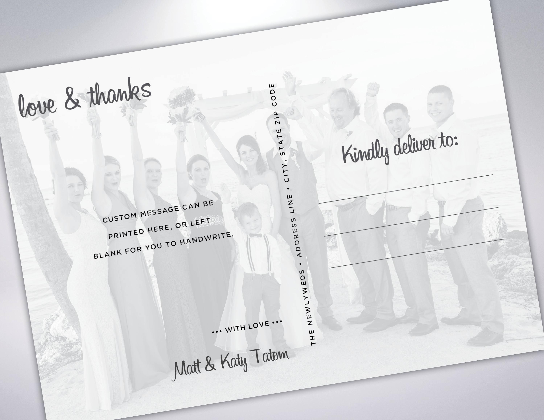 thank you postcards wedding thank you card custom message wedding photos wedding