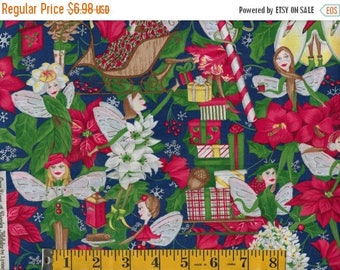 ON SALE Once Upon a Garden Christmas Holiday Fairies Poinsettias Gifts  By the Yard #817