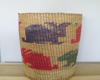 SALE Vintage Large Straw Woven Rabbit  Ethnic  Basket  -